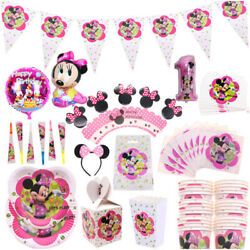 Minnie Mouse Party Supplies Birthday Decorations Plates Napkins Cups Tablecover