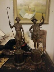 Rare Antique German Raphael Hubert Signed Bronze Statues of Shepards