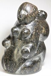 Inuit Eskimo Soapstone Carving Sculpture Mother And Child By Late Tuna Iquliq