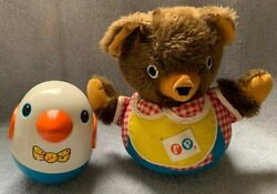 Vintage Playskool Roly Poly Penguin Chime Duck And Fisher Price Bear Weeble Wobble