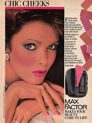 Vintage 1986 Jaclyn Smith Max Factor Satin Blush Makeup Magazine Ad Page
