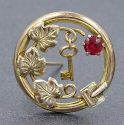 Vintage 9ct Yellow Gold Lined & Garnet Buckle Style Ladies Brooch