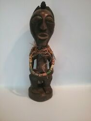 African Ivory Coast Fertility Statue With Trade Beads Antique 19th Century