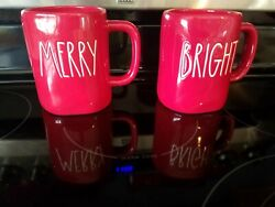 New Rae Dunnandnbspmerry And Bright Christmas Mug Set Of 2 Rare Red W/ White Letters