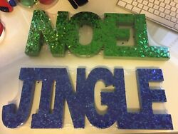 Noel And Jingle Sign Gilttery Standing Table Top Home Decor Wall Hanging New