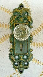 Vintage Style Cast Iron Door Plate With Acrylic/glass Knob, Teal/green