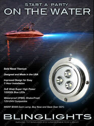 70and039 Foot / 22 Meter Beam Titanium Underwater Blue Led Boat Lamps Boat Lights