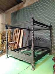 Uk King Size 5and039 Gothic Black Queen Anne Style Four Poster Mahogany Bedframe