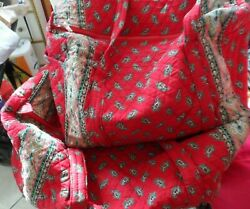 Vera Bradley M And Xl Duffel Bags In Retired Red Pattern Indiana Tags