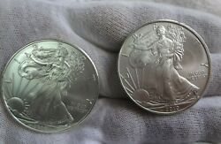 Set 2 2010 American Silver Eagle 1 Oz Coin Lot 1 Dollar From Us Mint