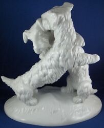 KPM Berlin Porcelain Playing Terrier Dog Figure Figurine Porzellan Figur Hund