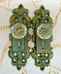 Vintage Style Cast Iron Door Plate W/ Acrylic/glass Knob, Lot Of 2