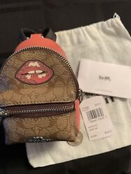 Limited Edtion Authentic Coach Designer Mini Backpack Coin Purse  Key Ring NWT