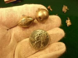 61 Of 140, Pair Of Vtg Sterling Silver Charms - J.f. Mono Football And Baseball