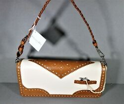 DIOR Beige Brown DTRICK Pearls Clutch Wristlet Shoulder Bag Galliano Design New