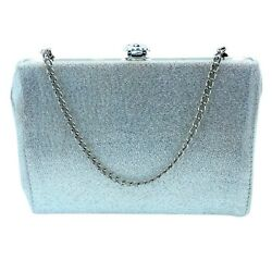 Silver Evening Bag with Concealable Strap $8.00
