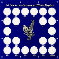 Capital Holder Display Coin Case 20 Years Of American Silver Eagles 12x12 Blue