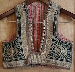 Antique Traditional Handmade Vest With Metallic Thread From Balkan Area Rare 19c