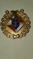 Brass Knights Of Columbus Pendant Fob Medal Pendant Antique Vintage Pin Back