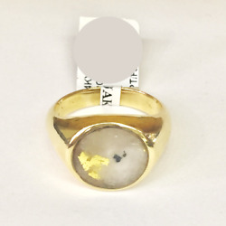 Men's Natural Gold In Quartz Custom Ring 14kt Yellow Gold R10086 New With Tags