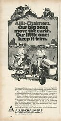 Allis Chalmers.lawn And Garden Equipment -small Tractors - 1974 Vintage Print Ad