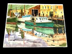 Thomas H. Miller 1917-2001 Gloucester Harbor Watercolor Signed