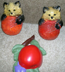 Lot Of 3 Chalkware String Holders Cats Apple Vintage