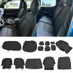 Black Front Rear Seat Covers Full Set For 2016-2021 Toyota Tacoma Double Cab