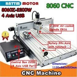 4 Axis 2200w 8060 Usb Mach3 Engraver Drilling Cnc Router Milling Machine 220v
