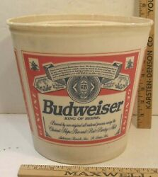 Vintage Waxed Paper 1 Gal Ice Beer Bucket Advertising Anheuser Busch Budweiser