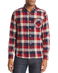 New Mens Flag And Anthem Glenshaw Flannel Button Front Shirt S