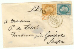 France Cover - 1868 Nice To Geneva Sw - Rare Pd Cancel - Cover652