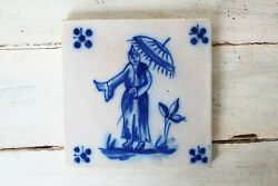 Antique Portuguese Tile Depicting A Chinese Man 19th Century Earthenware