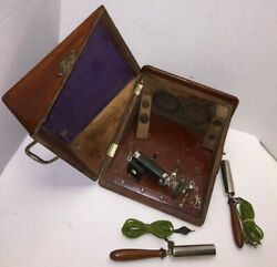 Antique F Gotto And Sons Vintage Quack Medical Electric Shock Device W/wood Case