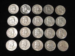 Roll Franklin Half Dollars 10 Face Lot Of 20 90 Silver Mixed Dates And Mints Fr1