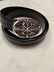 Chrome Hearts Oval Belt Buckle With 2 Leather Belts