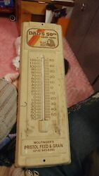 Ag Metal Thermometer 1983 Dad's Wolfinger's Bristol Feed And Grain Levittown Pa