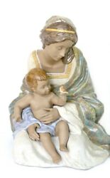 Lladro 2409 Loving Mother Gres Finish Mother W/child And Bird Retired 2016
