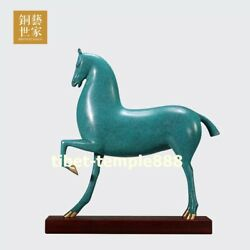 China Art Deco Pure Bronze Wealth Animal Wood Fine Horse Steed Equine Sculpture