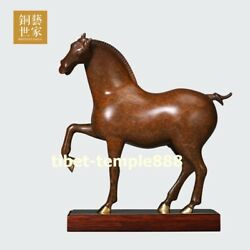 China Art Deco Pure Bronze Wealth Animal Wood Tang Horse Steed Equine Sculpture