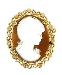 MAGNIFICENT Women's Cameo Brooch Vintage 9ct Gold Jewellery Fashion Accessory