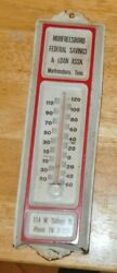 Vintage Mufreesboro Fedral Savings And Loan Thermometer Rare Tennessee