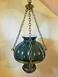 Rare Antique Swag Lamp With Green Glass Overlaid Shade