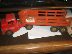 1950 Structo Toys Pressed Steel Toy Truck And Freight Lines Cargo Trailer