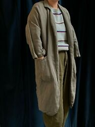 HORSES ATELIER Light Green Linen Patch Pocket Cropped Sleeve Duster Coat 1SML