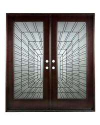 Solid Wood Double Front Entry Door Prehung Finished Door With Glazed Glass