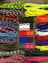 550 Paracord Kit For Parachute Cord Bracelet 200 Feet And 20 Color Buckles Usa