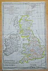 1780 Antique Map Of Great Britain Hand-coloured England Wales Scotland Atlas Map