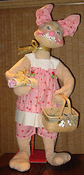 Vintage Rare 1981 Huge Store Display 4and039 3 Tall Annalee Mrs Easter Bunny Doll