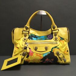 Balenciaga Lambskin Giant City Floral Bouton D'or Motorcycle Bag $995.00
